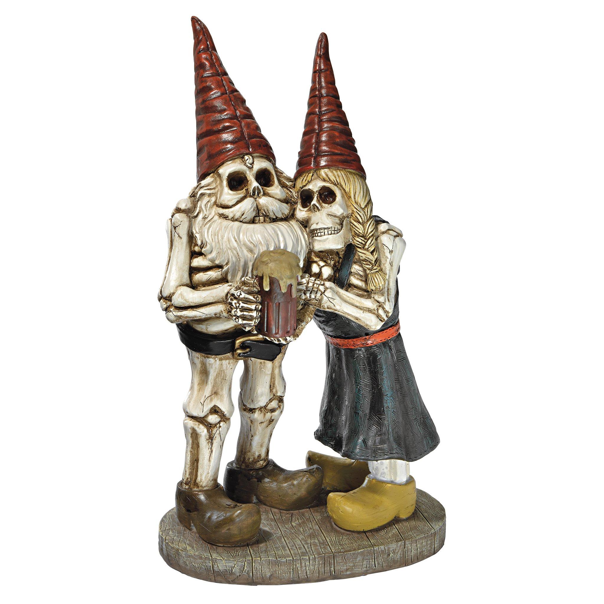 Design Toscano QM14018 Zombie Gnome - Bones and Brew Skeleton Graveyard Gnomes - Garden Gnome Statue,full color