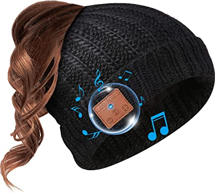 Women Bluetooth Beanie Hat Built-in Headset MIC Hands-free Call Ponytail
