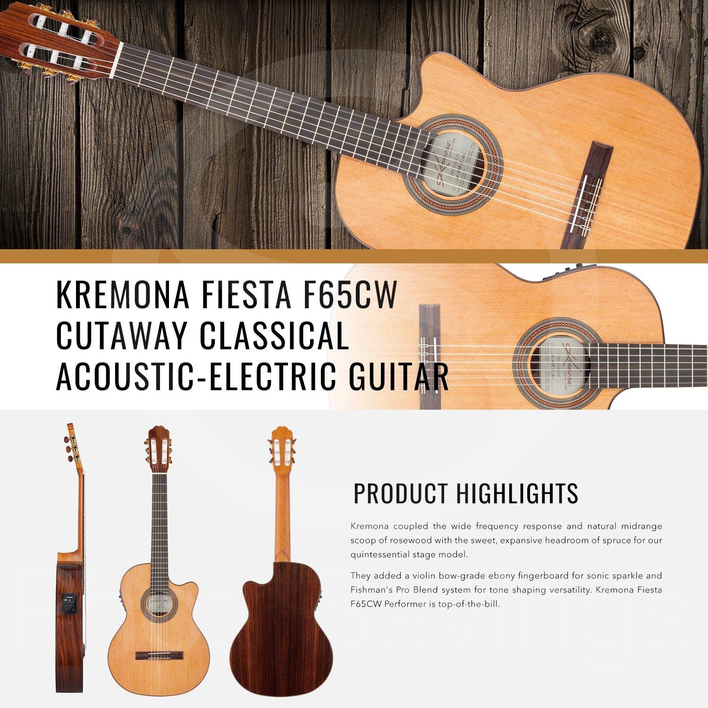 Kremona Fiesta F65CW Cutaway - Guitarra eléctrica acústica con ...