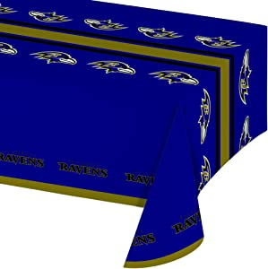 Creative Converting Officially Licensed NFL Plastic Table Cover, 54x102, Baltimore Ravens