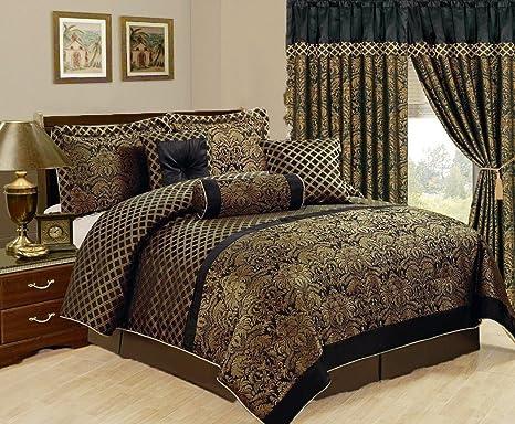 Amazon Com 7 Piece Over Size Jacquard Comforter Set Black Gold