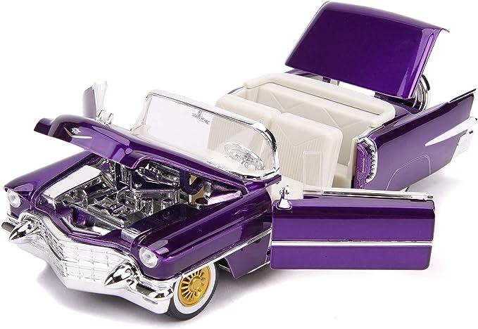 Elvis Presley 1956 Cadillac Eldorado Convertible Purple Diecast Car w// Figurine