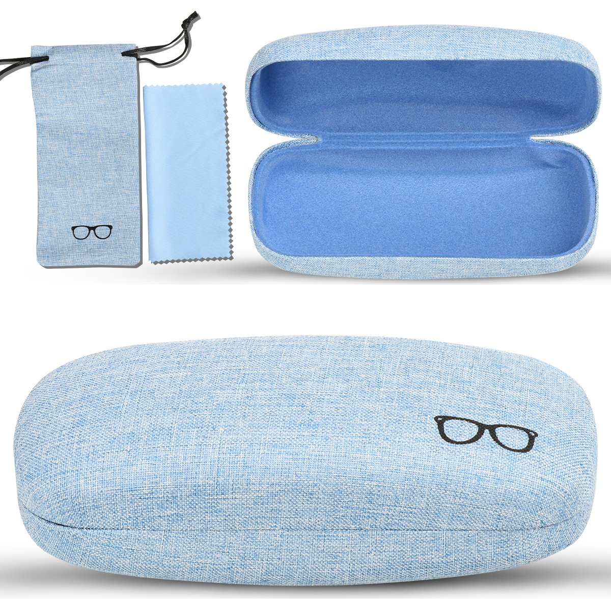 Large Size xhorizon FL1 Hard Shell Glasses Case Eyeglass Pouch /& A Large Cleaning Cloth /& A PU Leather Braid Eyeglass Chain Linen Fabric Case for Eyeglasses and Sunglasses with Bonus