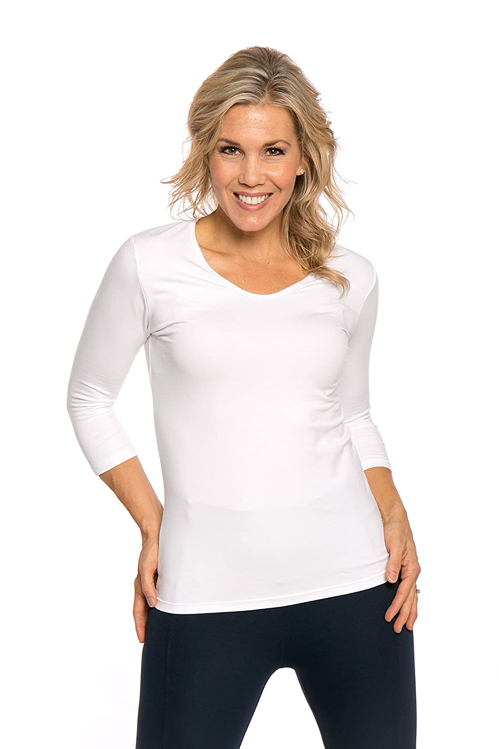 3/4 sleeve V-neck top by Heirloom, Soft yet durable, extra-length layering Top