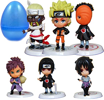 PARK AVE 6 Naruto Anime Ninja Figures with Jumbo Egg Storage, 1.5-3