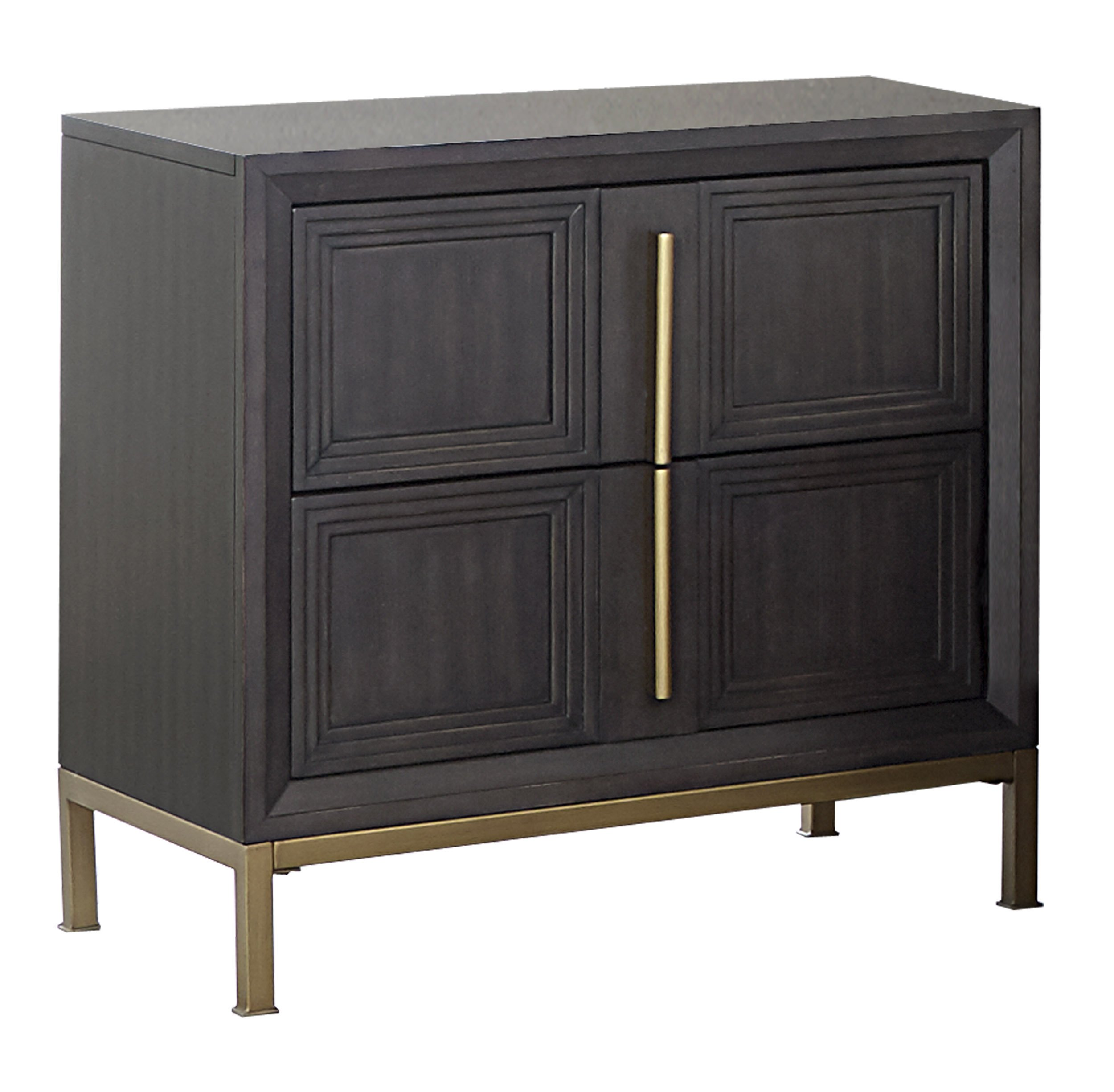 Homelegance Vargehese Two-Drawer Nightstand, Brown - Add this eye-catching Nightstand to your modern room Dark Charcoal finished ash veneer with dramatic step Molding and gold-finished inlay-accent framing Fixed felt in Top drawer - nightstands, bedroom-furniture, bedroom - 81SoG jC7dL -