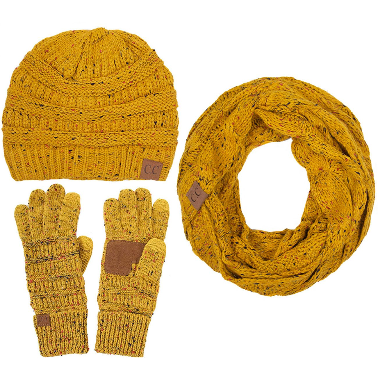 ScarvesMe C.C 3pc Trendy Confetti Thick Soft Warm Chunky Soft Stretch Cable Knit Beanie Gloves Scarves SET (Mustard)