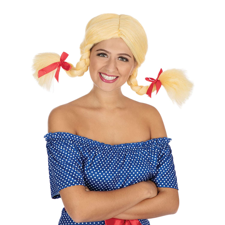ADULT Ladies Costume Blonde WIG Oktoberfest Plaits Pigtails