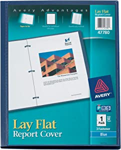 "Avery 47780 Lay Flat View Report Cover w/Flexible Fastener, Letter, 1/2"" Cap, Clear/Blue"
