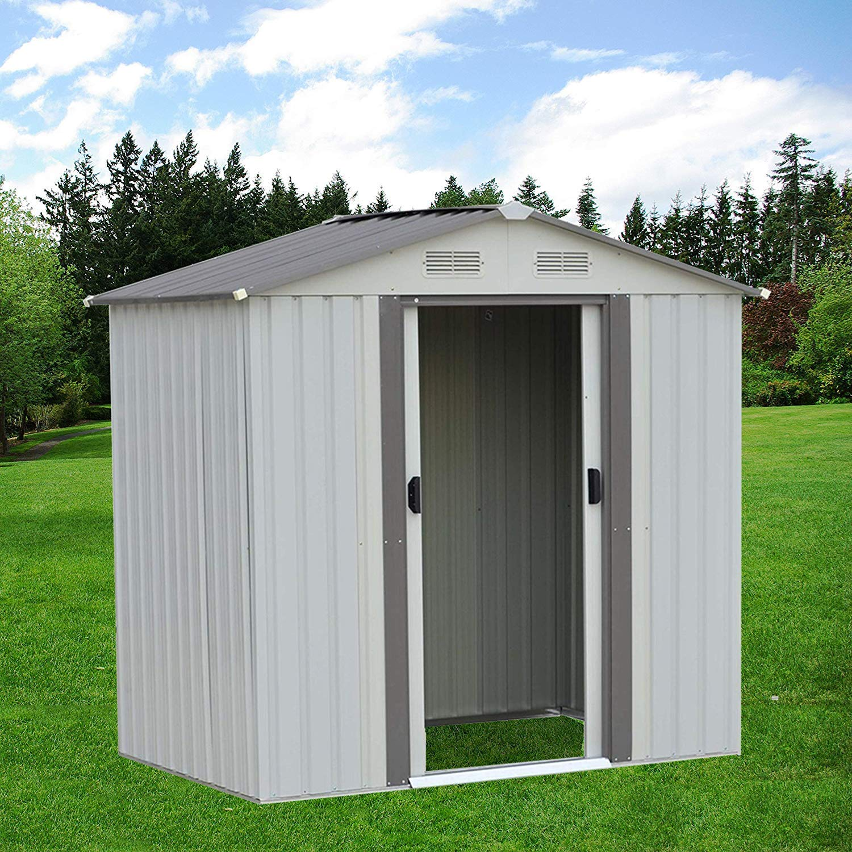 SUNCROWN Outdoor Garden Storage Shed Green 4X6 FT Yard Storage Tool with Sliding Door for Lawn Equipment Garden Backyard Green