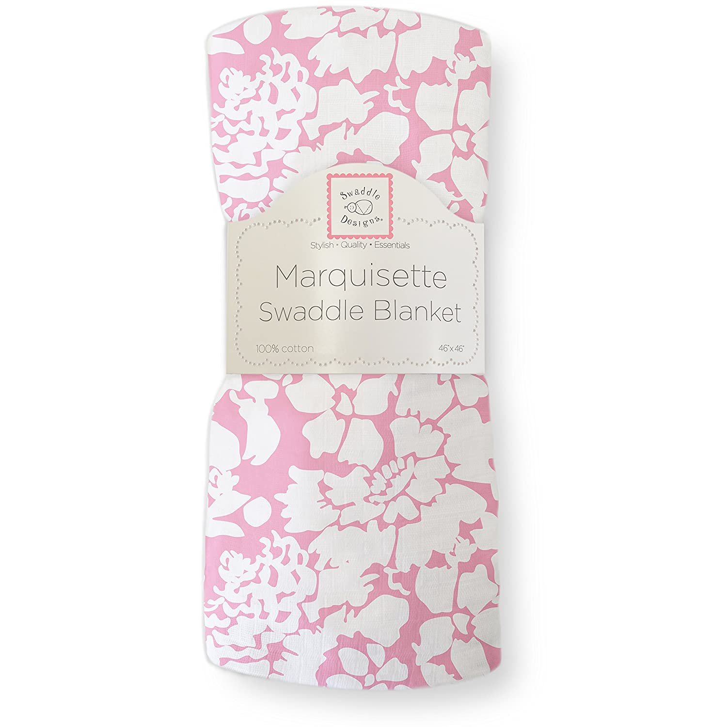 SwaddleDesigns Marquisette Swaddling Blanket, Premium Cotton Muslin, Pink Lush SD-454P