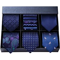 HISDERN Men's Necktie Collections, Lot 5 PCS Classic Men's Silk Tie Set Necktie & Pocket Square with Gift Box
