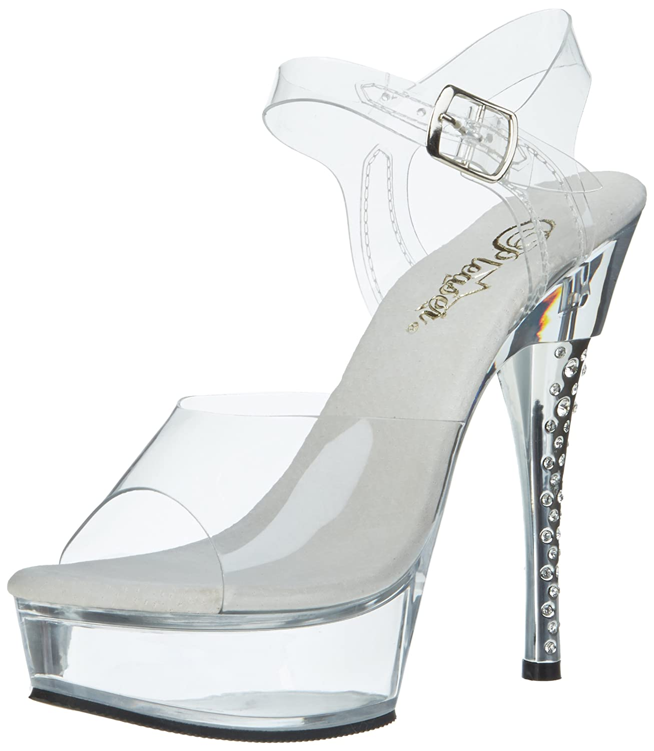 Pleaser Women's Diamond-608 Platform Sandal B002LHX8I6 5 B(M) US|Clear