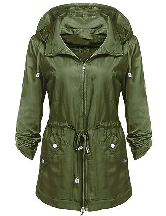 Pagacat Regenjacke Damen Abnehmbare Kapuze Winddicht Wasserdicht Funktionsjacke Jacke Übergangsjacke