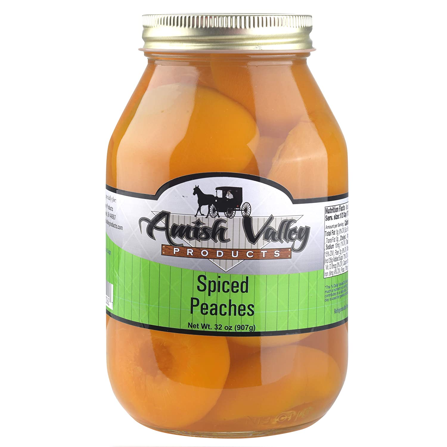 Amish Valley Products Old Fashioned SPICED Peaches Halves Canned Jarred in 32 oz Glass Jar (2 QT Jars - 32 OZ)