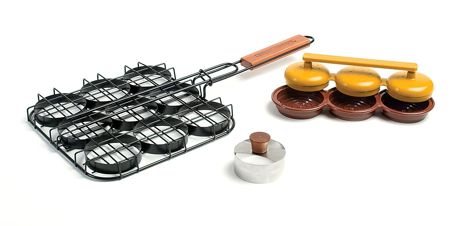 Charcoal Companion CC3072 Deluxe Mini Burger Set , Basket, Triple Patty Press and Bun Cutter