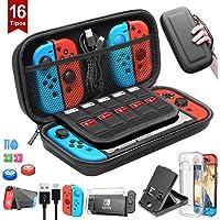BuFan 16 en 1 Funda para Nintendo Switch, Nadole kit de accesorios con 2 Protector de Pantalla Vidrio/ Carcasa…