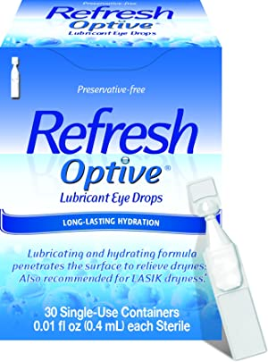 Refresh Optive Lubricant Eye Drops For Dry Eyes, Preservative-Free, 0.01 Fl Oz Single-Use Containers, 30 Count