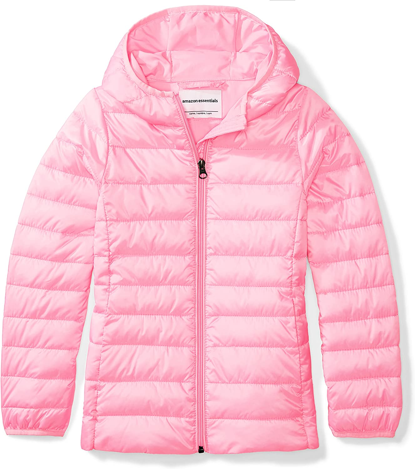 Essentials Girl's Lightweight Water-Resistant Packable Hooded Puffer Jacket: Clothing