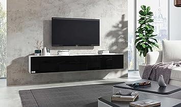 Wuun® TV Board hängend/8 Größen/5 Farben/240cm Matt Weiß-  Schwarz-Hochglanz/Lowboard Hängeschrank Hängeboard Wohnwand/Hochglanz & ...