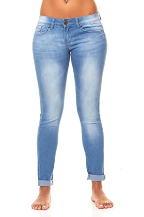 Skinny Butt Lift Ankle Cuff Slim Fit Stretch Jeans Light Blue Acid Wash  Junior Size 1 fa1236ee35