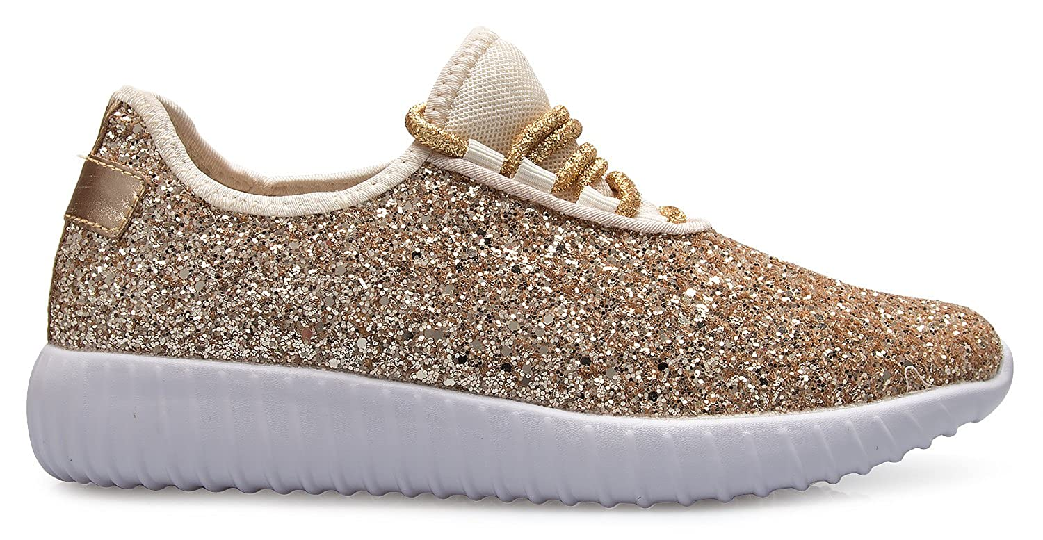 Lightweight OLIVIA K Womens Easy On Casual Fashion Sparkly Glitter Sneakers Comfort