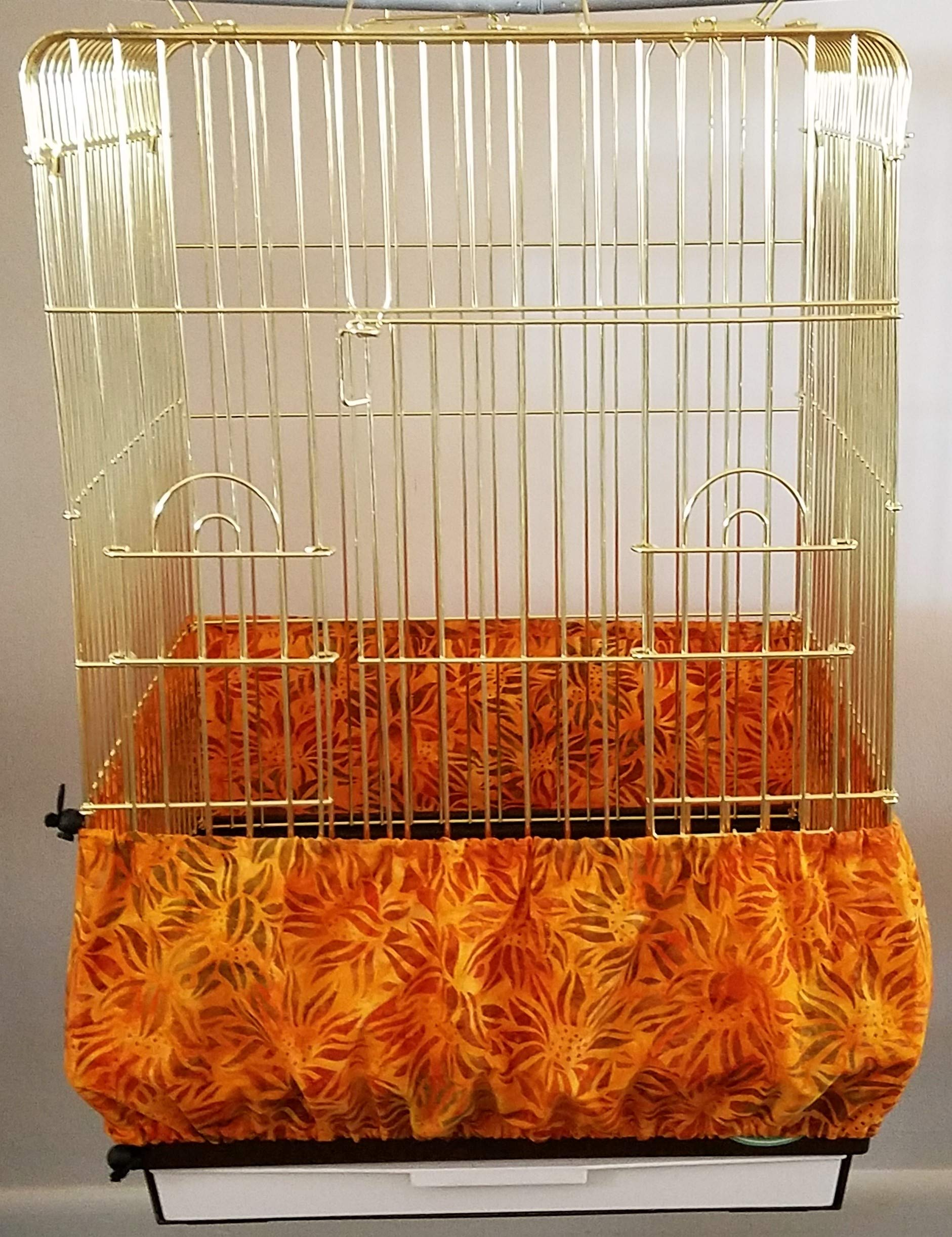 Penn Seed Seed Guard and Catcher Bird Cage Skirt - Indian Summer Sunflowers (Large (50''-100'' Cage Circumference)) by Penn Seed