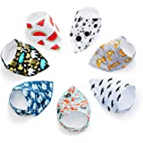 7 Baby Bibs Bandana Set for Boys and Girls | Organic Cotton & Fleece Infant Bibs with Snaps | Newborn, Babies, Toddler Durable Bandanas Sets