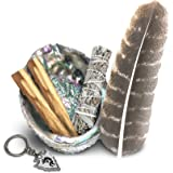 JL Local Smudge Kit - White Sage, Palo Santo, Abalone Shell, Smudging Feather, Kokopelli Keychain! Healing, Purifying…
