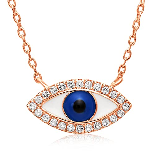 Sterling Silver Cubic Zirconia Evil Eye Necklace – Rose Gold Finish – Adjustable 16 – 18