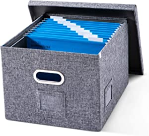 File Storage Organizer Box with Lids - Collapsible Linen Filing Storage with 10 Pcs Hanging Folders for Office Home Cabinet