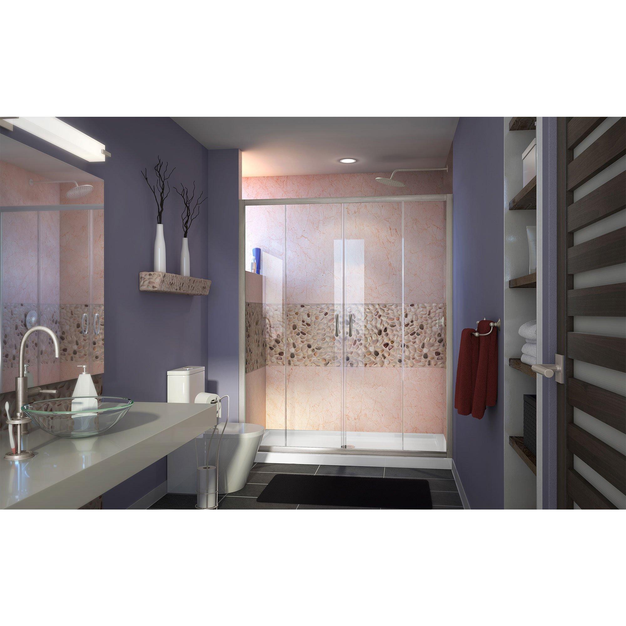 DreamLine Visions 56-60 in. Width, Frameless Sliding Shower Door, 1/4'' Glass, Brushed Nickel Finish by DreamLine (Image #4)