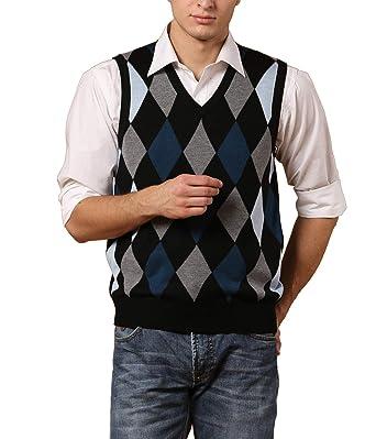 c89722589dad08 DD UP Herren V-Ausschnitt Business Argyle Muster Pullunder Pullover  Stricken Weste