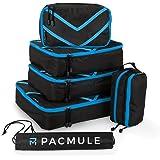 ✅ PACMULE – 6er Stück Reisetaschen Packtaschen Kleiderwürfel Reise Set mit Reise-Zubehör Koffer-Organiser & Wäschebeutel (blau)