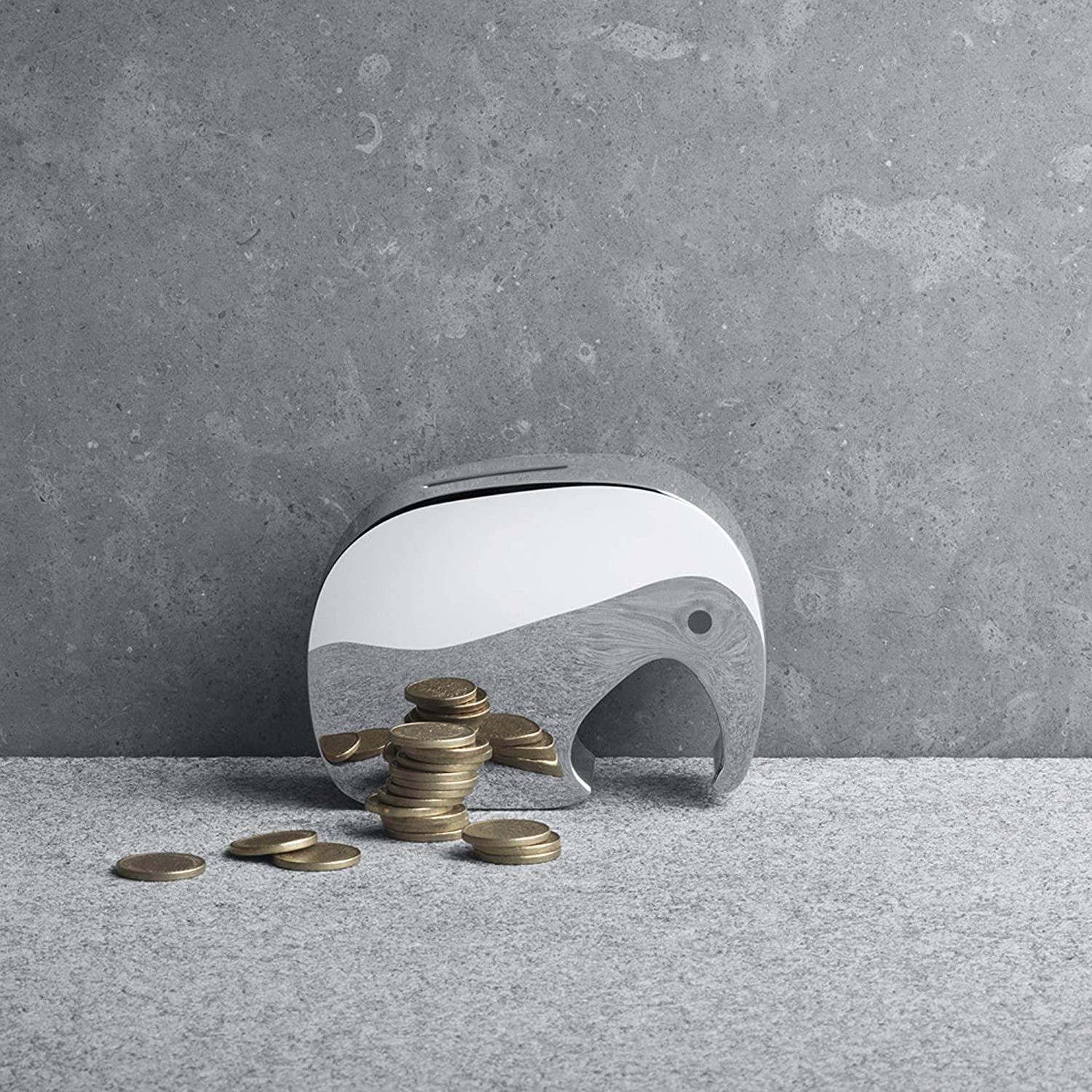 Mirror Polished Stainless Steel By Jørgen Møller Georg Jensen Moneyphant Money Bank Money Boxes