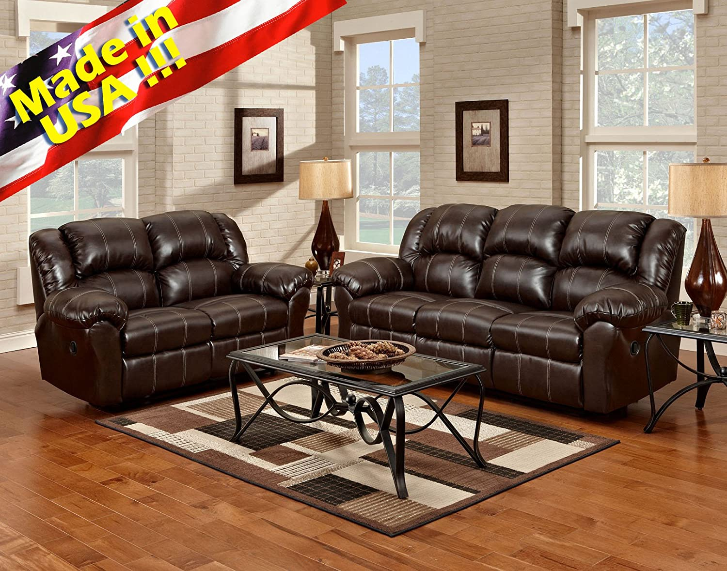 Amazon com roundhill furniture brandan bonded leather dual reclining sofa and loveseat brown kitchen dining