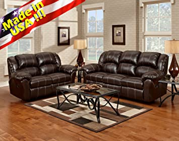 Roundhill Furniture Brandan Bonded Leather Dual Reclining Sofa And Loveseat Brown