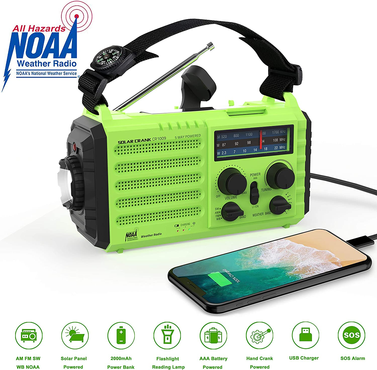 Weather Radio Onlyee Solar Hand Crank Emergency Radio 5 Ways Powered AM/FM/SW/NOAA Weather Alert Portable Radio with Flashlight, Reading Lamp, 2000 mAh Power Bank USB Cellphone Charger and SOS Alarm