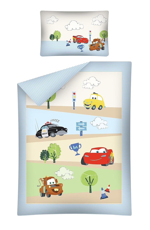 Kinderbettwäsche Cars blau 100x135 cm + 40x60 cm 100% Baumwole Bettgarnitur Baby Bettwäsche 2 tlg. Bettset
