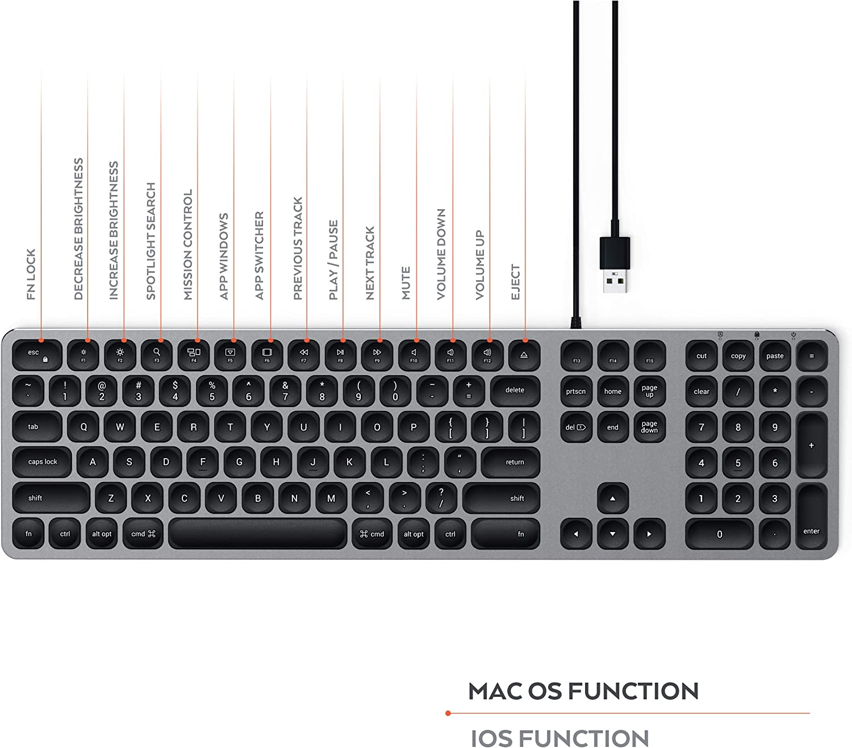 SATECHI Teclado con Cable USB de Aluminio con Keypad Numérico, Compatible con iMac - 2020 iMac, iMac Pro, 2020 Mac Mini, y más (Inglés Estadounidense, ...