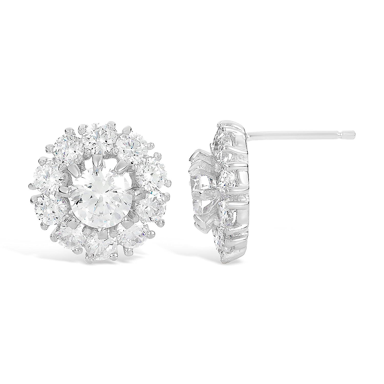 Lavari Sterling Silver Flower Stud Cubic Zirconium Earrings
