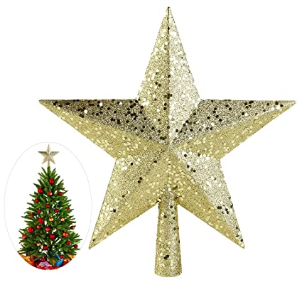 nicexmas christmas tree toppers star treasures glittered decoration ornament 9 inch gold