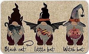 Artoid Mode Black Cat Little Bat Witch Hat Gnomes Candy Pumpkin Decorative Doormat, Seasonal Fall Halloween Low-Profile Floor Mat Switch Mat for Indoor Outdoor 17 x 29 Inch