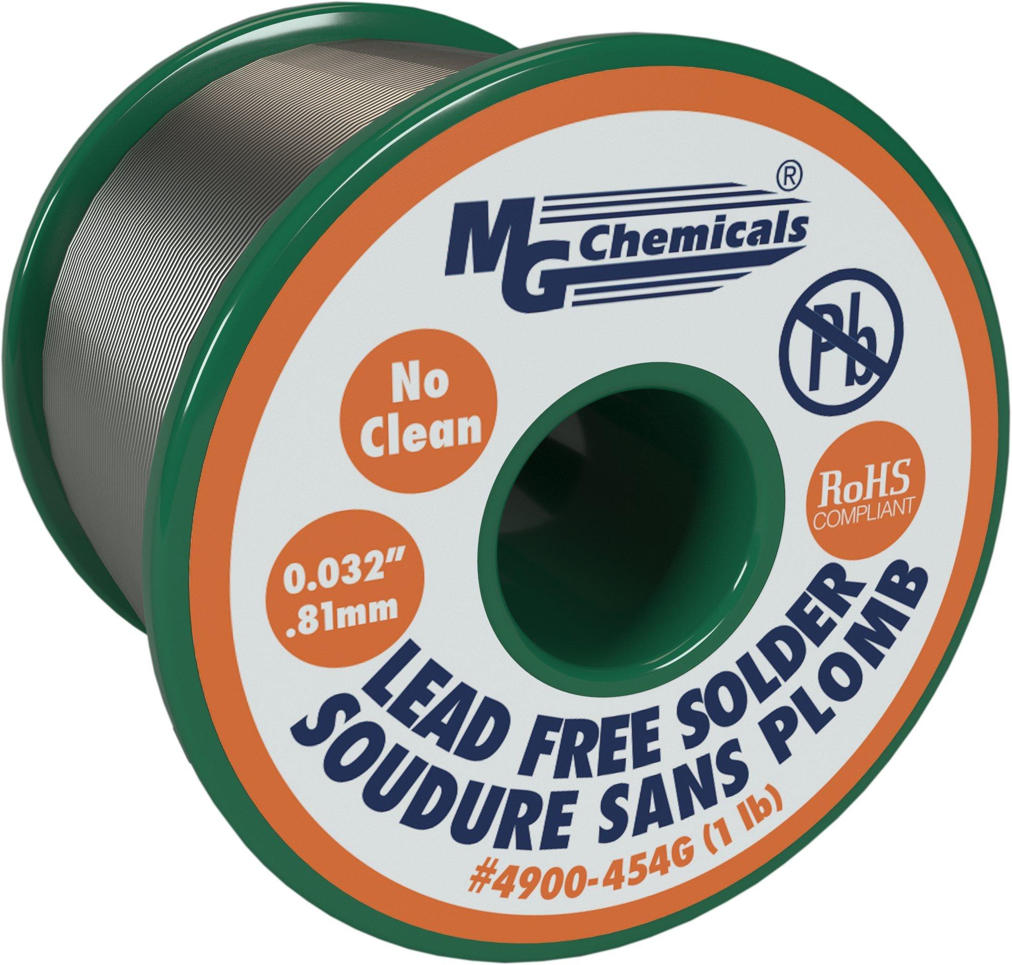MG Chemicals SAC305, 96.3% Tin, 0.7% Copper, 3% Silver, No Clean Lead Free Solder, 0.032'' Diameter, 1 lbs Spool