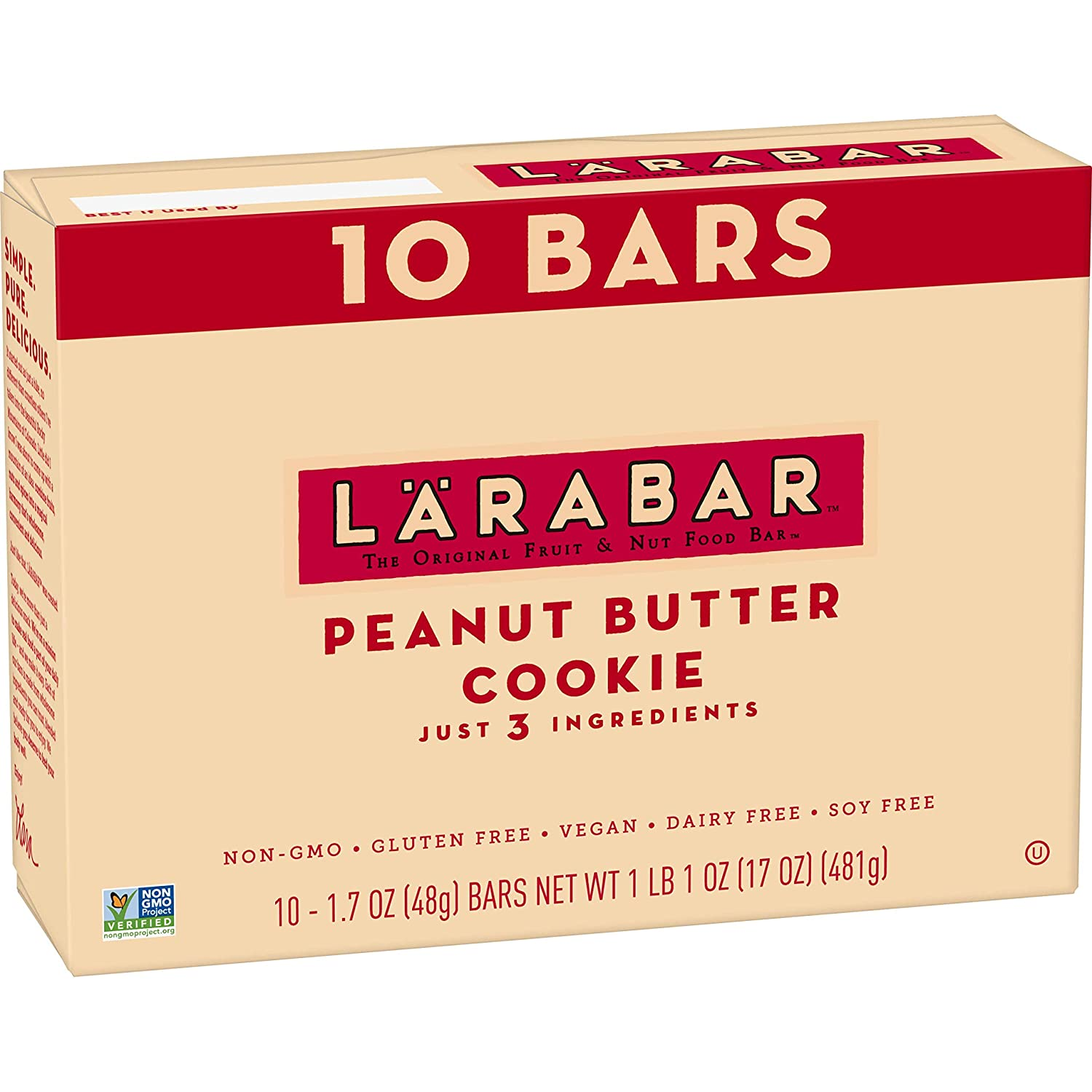Larabar Gluten Free Bar, Peanut Butter Cookie, Dairy Free, 10 ct, 17 oz