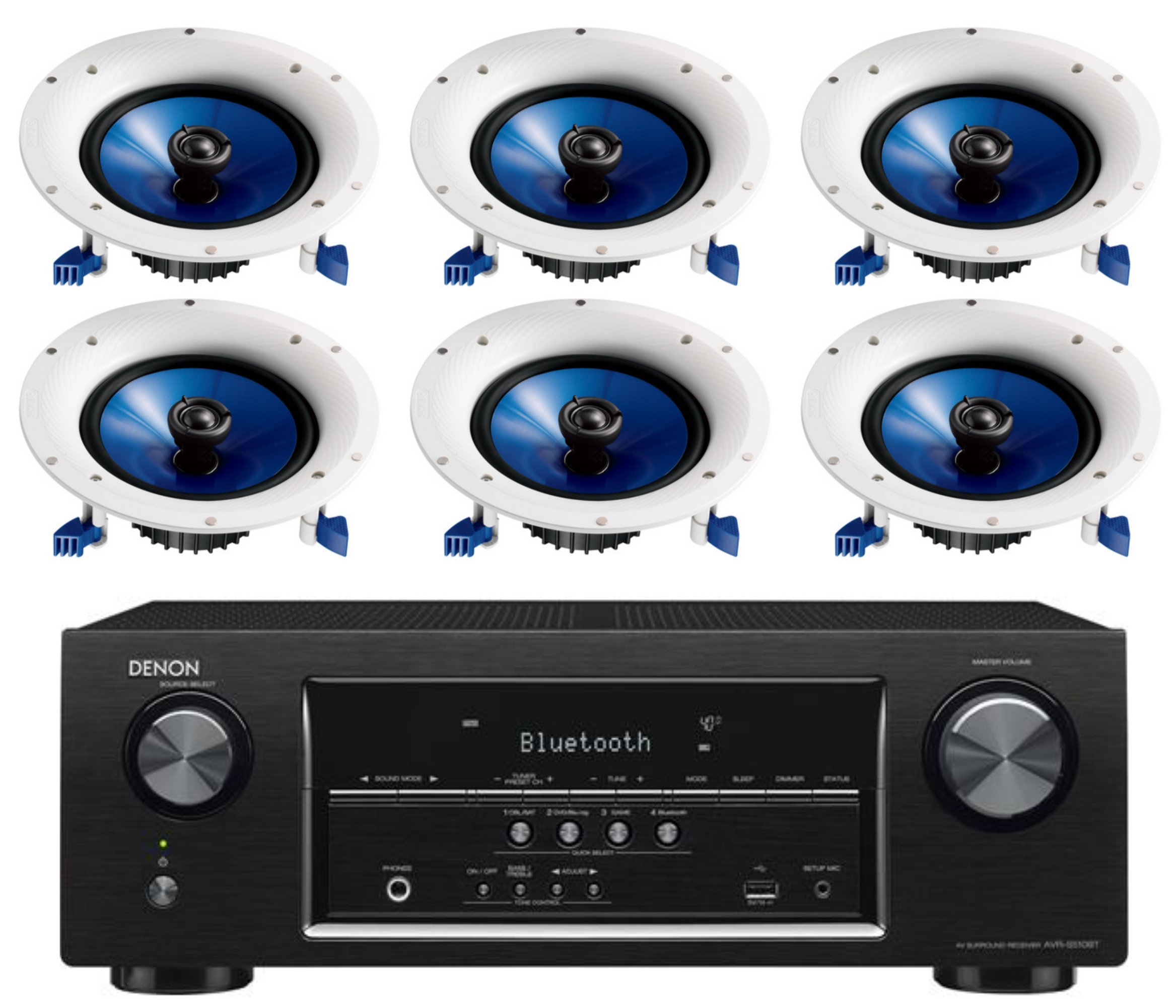 Denon 5.2 Channel 700-Watt Full 4K Ultra HD Bluetooth AV Home Theater Receiver + Yamaha High-Performance Moisture Resistant 2-Way 8'' 140 watt Surround Sound in-ceiling Speaker System (Set Of 6) by Yamaha