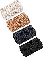 4 Pieces Winter Ear Warmers Headbands Women Warm Knitted Headband Braided