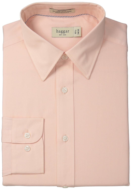 Haggar Men's Regular-Fit Poplin Solid Long-Sleeve Dress Shirt at ...