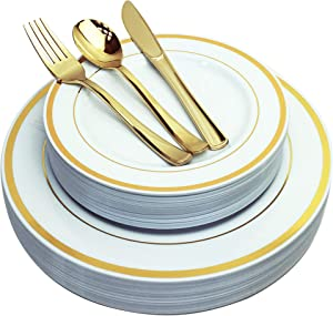 JL Prime 125 Piece Gold Plastic Plates & Cutlery Set, Heavy Duty Disposable Plastic Plates with Gold Rim & Silverware, 25 Dinner Plates, 25 Salad Plates, 25 Forks, 25 Knives, 25 Spoons