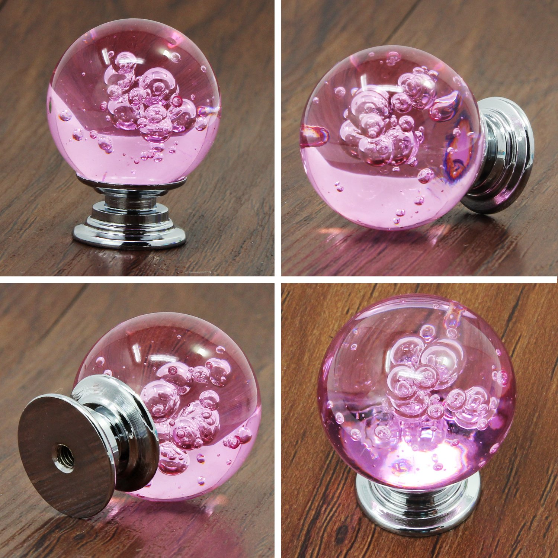 Psmgoods/® clair cristal en verre Boutons de tiroir avec boule Bubble Boutons de porte darmoire de cuisine Boutons de tiroir Poign/ée de traction Beige rose